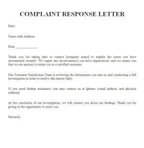 complaint response letter sample