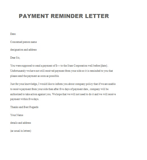 Payment Reminder Letter Archives