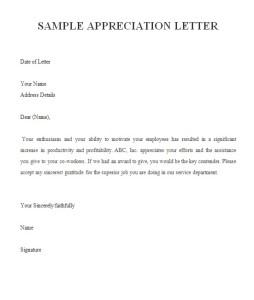 sample appreciation letter image
