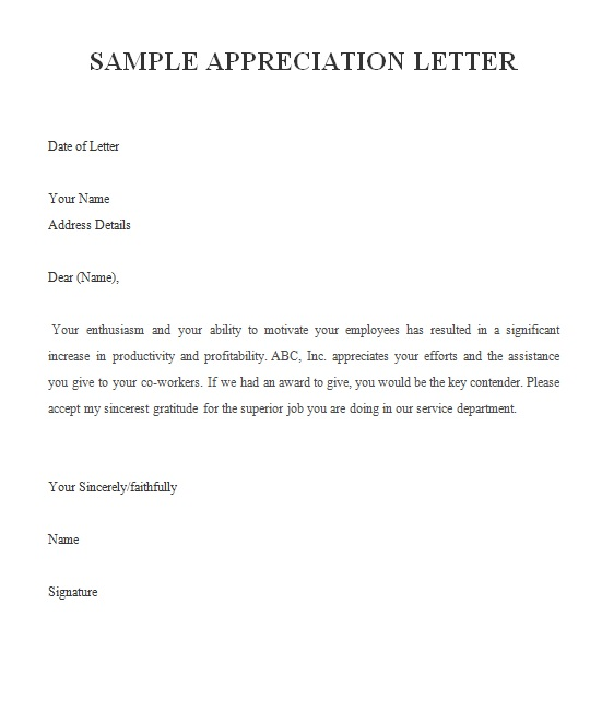 appreciation letter free sample letters