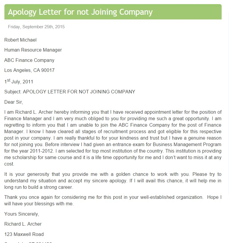 Apology Letter for not Joining Company