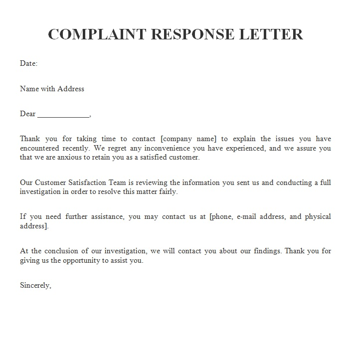 Complaint Response Letter Free Sample Letters