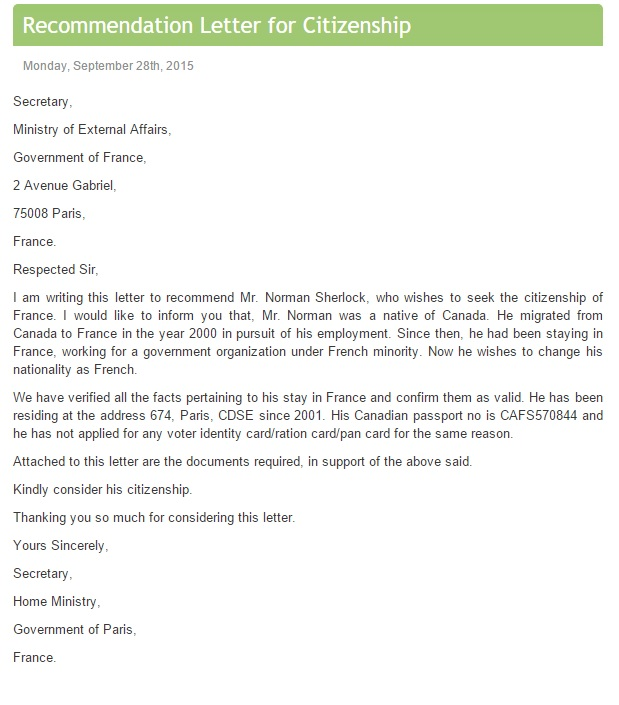 Reference Letter For Citizenship Sample from www.samplelettersfree.org